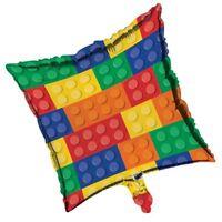 "18"" Block Party Square Foil Balloon Boys Birthday Decoration Building Bricks"