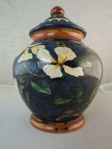 Doulton Faience Hand Painted Pottery Ginger Jar & Cover