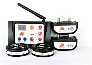 Wireless Two Dog Containment Electric Fence & Remote Shock Collar Bark E Collar