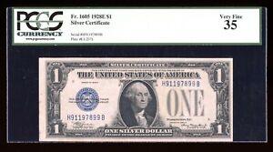 DBR Rare 1928-E $1 Silver Funnyback Fr. 1605 HB Block PCGS 35 Serial H91197899B