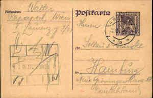 1924 Postkarten Ganzsache ÖSTERREICH 500 Kronen gelaufen ab Wien nach Hamburg