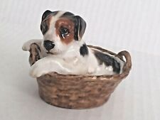 Royal Doulton VintageJack Russell Puppy In A Basket Hn 2587