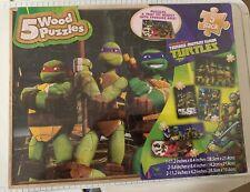 New Nickelodeon Teenage Mutant Ninja Turtles 5 Wood Puzzle Pack