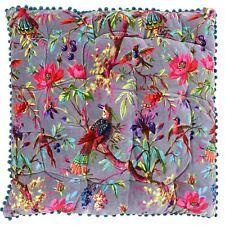 Tropical Floral Birds Mink Pink Large Floor Filled Cotton Velvet Square Cushion
