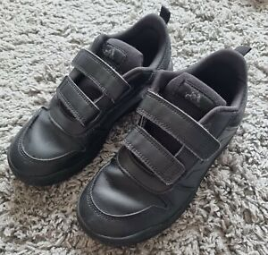 BOYS BLACK LEATHER ADIDAS SCHOOL SHOES SIZE 2