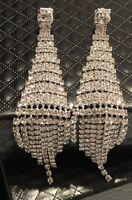 14k White Gold Dangle Chandelier Clip Earrings made w/ Swarovski Crystal Stone