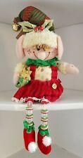 Christmas Elf Girl Shelf Sitter Fabric Button Legs Hannas Handiworks Doll 75024