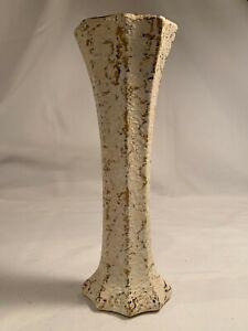 Vintage American Bisque Co 22kt Gold Texturized Vase with black glaze interior