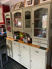 kitchen cabinet dresser . Painted green, comes in 2 parts. Good condition