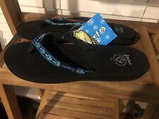 REEF Ginger Women's Flip Flops Size 10 Black/Turq/Aqua  NWT( Squishy Sole)