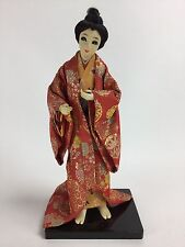 "13"" Japanese Geisha Girl Silk Kimono Dress Figurine on Lacquer Wood Base"