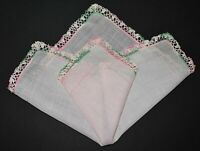 vintage handkerchief Pink hand crochet on pink hankie SHABBY HOME CHIC charming