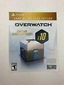 Unused Overwatch Game of the Year Edition x10 Bonus Loot Boxes Insert for PS4
