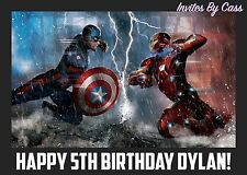 CAPTAIN AMERICA VS IRON MAN EDIBLE IMAGE CAKE TOPPER BIRTHDAY PARTY KIDS