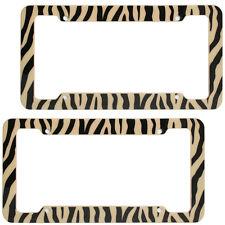 2 PC Set Safari Brown Zebra Tiger Print Plastic License Plate Frames Car Truck