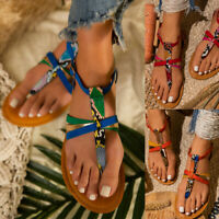 ❤️ Women's Ankle Strap Sandals Flat Thong Casual Snake-colored Flip Flops Shoes
