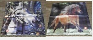 Set of 2 Stabenfeldt Horse Pillow Case Cover Sham Dbl Side Brown White Pony Club