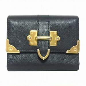 Auth PRADA Black Gold Leather Hardware Trifold Wallet