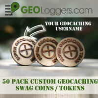*NEW* 50 x CUSTOM Wooden I Found It Geocache Prize / Swag Coins 20mm!