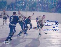 "BECKETT BOBBY HULL ""HOF 1983"" SIGNED CHICAGO BLACKHAWKS 8x10 VINTAGE PHOTO 76772"