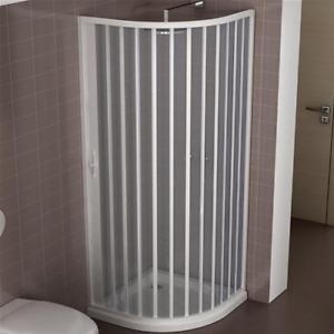 Box doccia mod.Giove 80x80 cm in PVC riducibile semicircolare apertura laterale