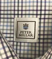 Peter Millar Men's Purple Green Blue Plaid Long Sleeve Button Down Dress Shirt L