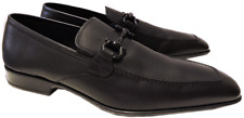 SALVATORE FERRAGAMO RIGEL Gancini Loafer Moccasin Black Leather Shoes 9.5 D