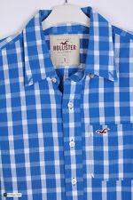 Hollister Men Long Sleeve Regular Fit Casual Shirt  Blue Size S Check