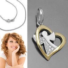 Kinder Frauen Herz mit Schutz Engel Zirkonia Anhänger mit Kette Echt Silber 925