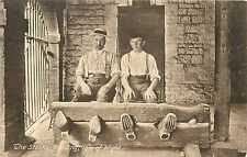 Vintage 1905-1915 Postcard; Men in Stocks, Brading, Isle of Wight, Uk, Unposted