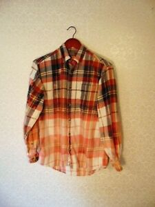 Bleached Plaid Flannel Shirt Distressed Sz S Long Sleeve Button Up OOAK Upcycle