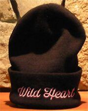 Women's GARAGE WILD HEART Winter Hat Toque Beanie Roll Up Black Pink Acrylic
