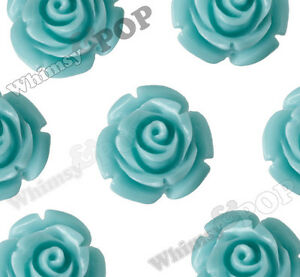 12mm Aqua Rose Flower Beads w Drilled Hole for Beading Stringing on Necklace