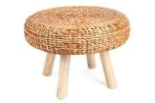 LOW STOOL/COFFEE TABLE/SIDE TABLE-TIMBER LEGS AND WATER HYACINTH TOP-40H X 60 D