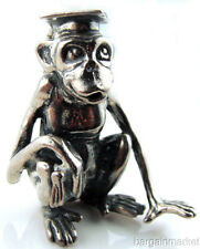 Heavy Sterling Silver Monkey Chimpanzee Graduate Figurine Paper Weight s42