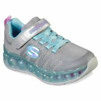 Skechers Skech-O-Sphere Girls Sneakers Gray with Aqua and Pink Slip on