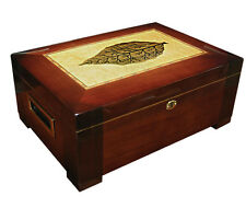 STETSON Cigar HUMIDOR with Tobacco Leaf inlay - Holds up to 150 Cigars