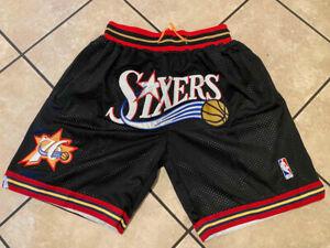 Men's Philadelphia 76ers Hardwood Classics Stitched Just Don Shorts NEW