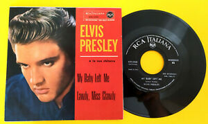 """ELVIS PRESLEY (45 RPM - ITALY) 45N 0520  """"MY BABY LEFT ME""""  (TOP-RARE RED COVER)"""