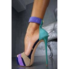 New Nightclub Plus-SizeAnkle Strap Metal Buckle Platform Slim High Heel Sandals