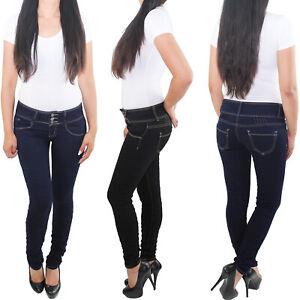 Damen Skinny Jeans Röhrenjeans Hüftjeans Hüfthose Slim Fit Hose Stretchjeans