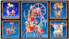 """SSI Royal Blue Fabric Circus Animal Critter Carnival 5 Picture Panel 22.5"""" x 44"""""""