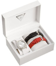 NEW GUESS SS SPARKLE SWAROVSKI LADY WATCH WHITE BLACK RED LEATHER STRAP GIFT SET