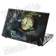 """15,6 """"Laptop piel cubierta Sticker Decal Mariposa Reloj"""