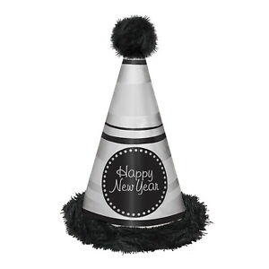 Black & Silver Happy New Year Foil & Marabou Party Cone Hat