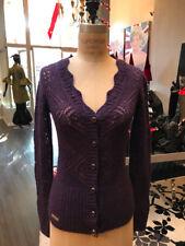 D&G Dolce Gabbana XS Plum Wool Blend Cardigan Open Weave Sweater
