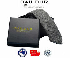 BAILOUR Tie Men's Luxury Handmade Grey Textured Plain Formal Wool Skinny Slim