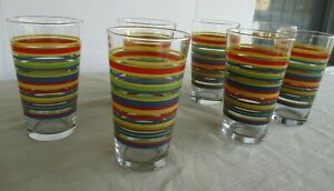 Fiesta Ware Striped Drinking Glasses Red/Blue/Yellow-16 oz-(Set of 7)