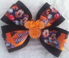 "Girls Hair Bow 4"" Spooky Halloween Mickey Minnie Sparkly Flatback Frnch Barrette"