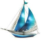 Metal Sail Boat Blue Statue Art Iron Figurine Garden Model Sculpture 43cm